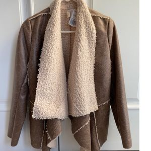 Brown pleather open front sherling jacket